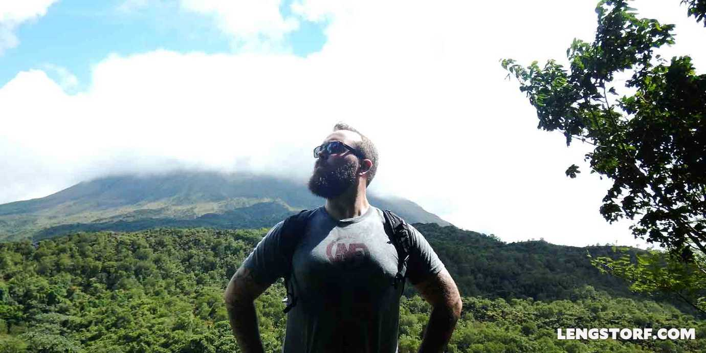 Jason Lengstorf in front of a volcano in Costa Rica after fixing his work-life balance.