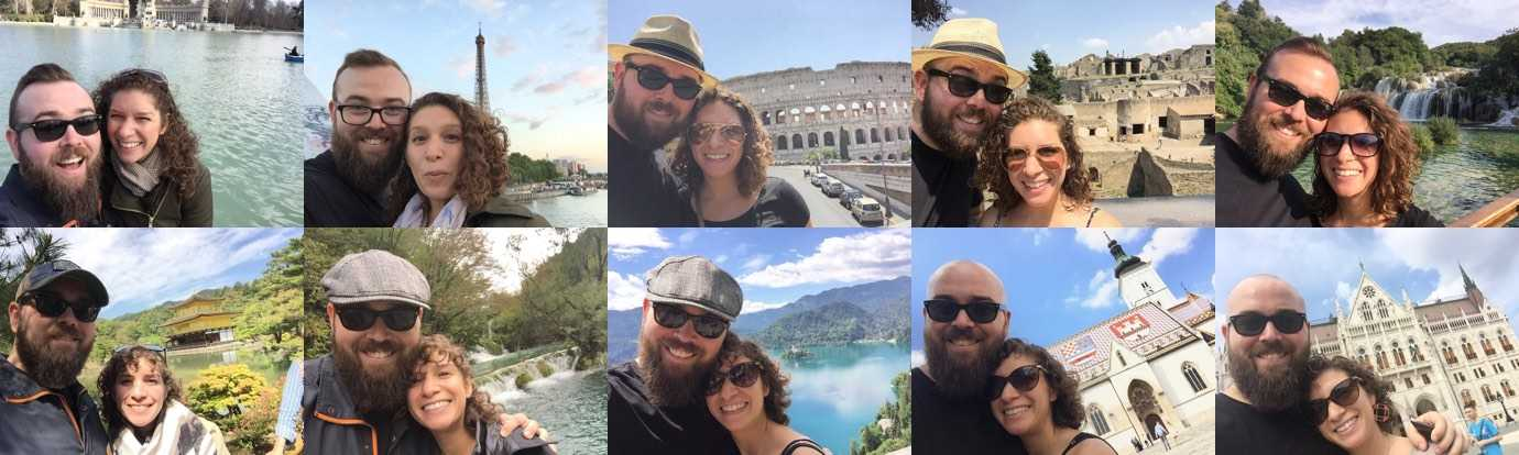 Selfies of Marisa and Jason in the exact same pose in ten different countries.